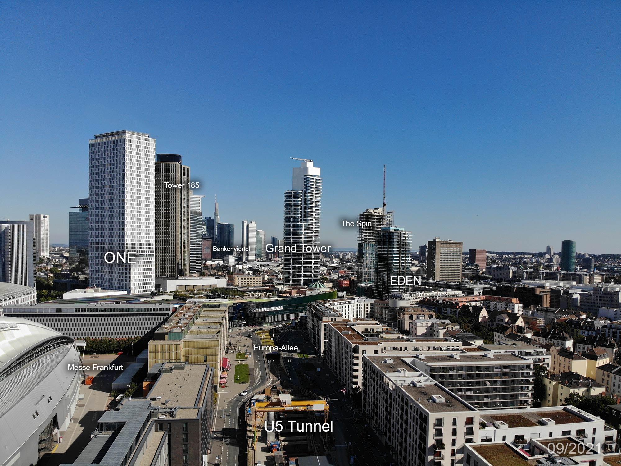 Europaviertel Frankfurt - Europa-Viertel FFM - Panorama - Luftaufnahme - Baustellen - U5 Ubahn - Europa Allee FFM - September 2021 - Grand Tower - ONE - The Spin - EDEN - Skyline Plaza