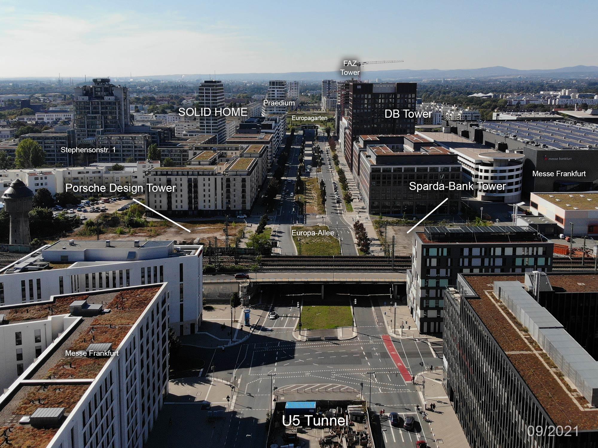 FFM Europa Viertel - Frankfurt am Main Europaviertel Panorama - September 2021- Bahnstrecke - Porsche Design Tower - Deutsche Bahn - geplante Hochhäuser