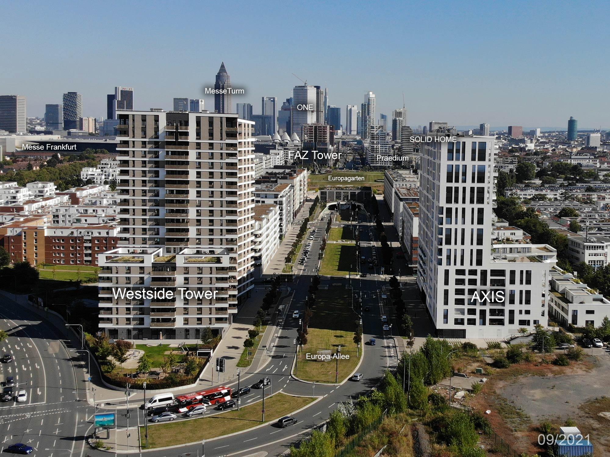 Westside Tower - AXIS - Europa-Allee in Frankfurt am Main - Panorama Frankfurt - September 2021 - Europaviertel - Wohnungen - Eigentumswohnungen kaufen